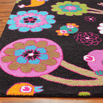 Birds Floral Black 5 x8 Handmade Floral Persian Style Wool Area Rug