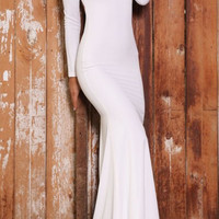 Backless Long Sleeve Maxi Dress