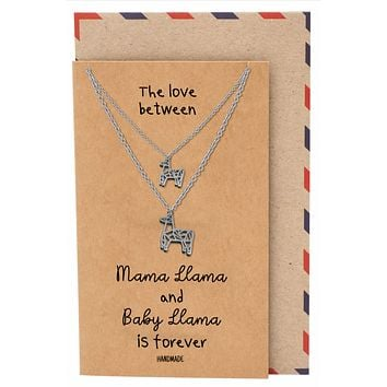 Ralphie Mama and Baby Llama Pendants 2 sets of Necklace, Mother and Daughter Jewelry