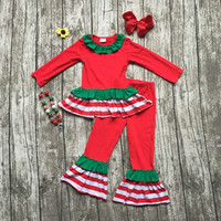 Christmas fall/winter baby girls kids wear santa gift outfits long sleeve stripes red ruffles pants with matching bow necklace