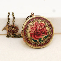Locket,Brass Locket,Red Rose Locket,Photo Locket,Picture Locket, Wedding Necklace,Photo Image Vintage Locket,bridesmaid gift,locket necklac