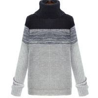 Gray Turtleneck Long Sleeve Knitted Sweater