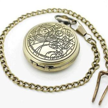 Hot Sale Doctor Who Theme Bronze Vintage Quartz Fob Pocket Watch With Chain Necklace Best Gift To Men Women