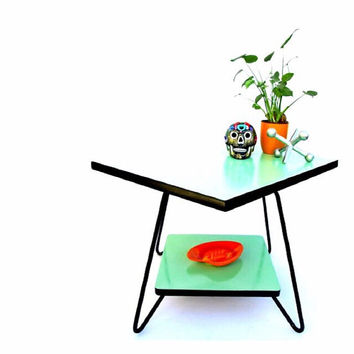 Mid Century Modern Swiveling 2-Tier Mint & Black Cocktail Table | Hairpin Legs | Square Coffee /Side Table