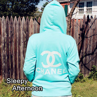 SALE - Classic Chanel - Women Hoddie -  Tiffany Blue (ONLY 1 LEFT)