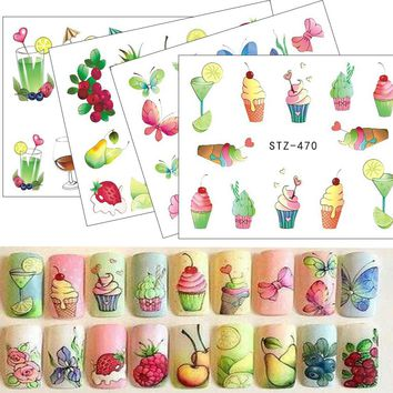 1pcs Nail Sticker Water Tattoos Summer Ice Cream/Drink/Fruit/Flower/Butterfly DIY Decals for Nail Art Cool Decor STZ470-488