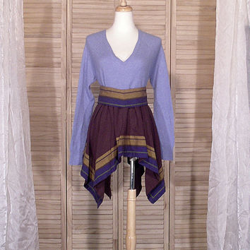 OOAK Romantic Lagenlook Blue CASHMERE Sweater Babydoll Tunic Top Dress / Artsy Urban Mori Upcycled Altered Eco Clothing M/L