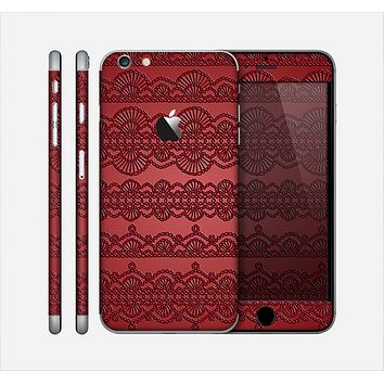 The Dark Red Highlighted Lace Pattern Skin for the Apple iPhone 6 Plus