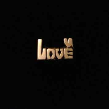Love With Little Heart In The Corner ( Hand Carved ) Brass ( Any Size )