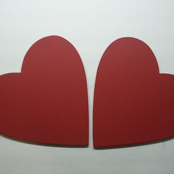 2 Red Heart Valentines Day Props chalkboard large chalk board 8 1/2 x 9 1/2 wedding prop save the date