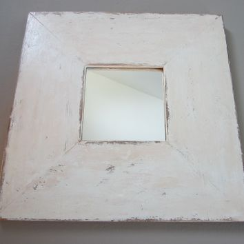 Mid Century Modern Shabby Chic Style Square Design Wall Mirror