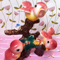 Vintage, china bird ornament!! Pink birdies - so kitsch and cartoon cute!!