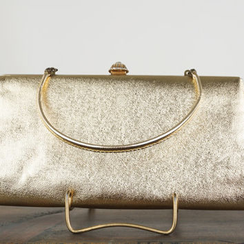 Vintage Gold Lame Handbag, Clutch Bag, Rhinestone Clasp