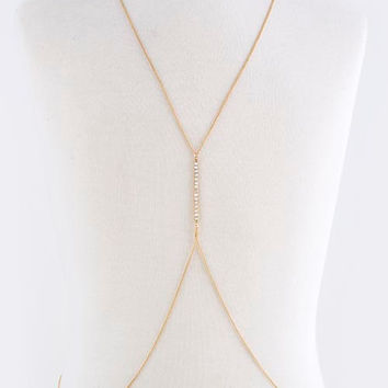 Gold Bar Body Chain, Crystal Body Chain, Body Jewelry, Belly Chain