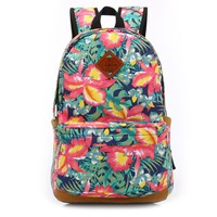 Floral Pattern Canvas Large Backpack Very Light Travel Bag School Bookbag
