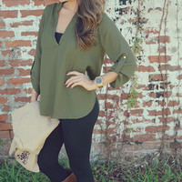 She's Simply Striking Blouse: Green | Hope's