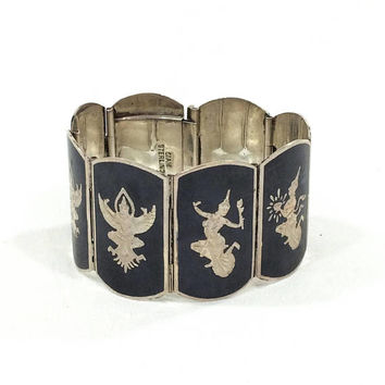 Wide Niello Bracelet, Sterling Silver Panel Bracelet, Rajas Motif, 1940s, Thailand / Siam Jewelry, Statement Vintage Jewelry