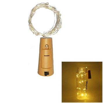 1PC Wine Bottle Lights Battery LED Cork Shaped Starry String Lights 2METER 20LEDS Silver Wire Fairy Lights for Wedding