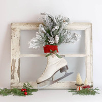 Christmas Ice Skate Decoration vintage white ice skate green boughs red sweater green ribbon rusty snowflake jingle bell door decoration