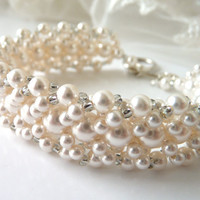 Vintage Inspired Pearl Bridal Bracelet by MelJoyCreations