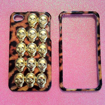 iPhone 4 4s Case  Leopard with Gold Skull Studs by JMxSweets