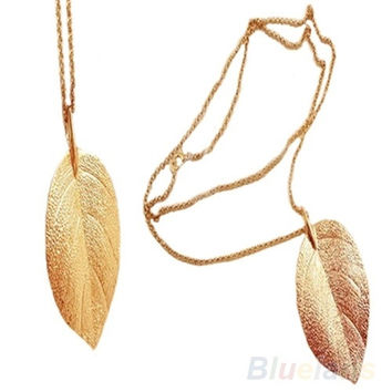 Fashion Gold Color Long Chain Thick Leaf Pendant Charm Long Necklace = 1651423044