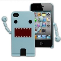 Cute Domo Kun Shape Hard Plastic Case For iPhone 4S / 4 - Blue ( With Movable Hands)