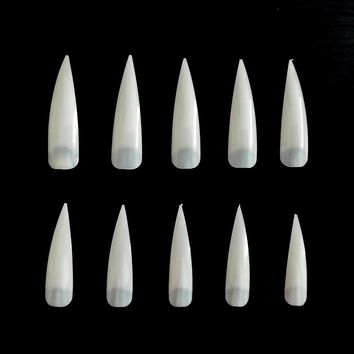 100PCS Acrylic Artificial Nails Natural French Stiletto Nails Cheap False Nail Tips Half Cover Fake Nail Stiletto Tips JZJ011