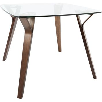 Folia Mid-Century Modern Dining Table, Walnut & Glass
