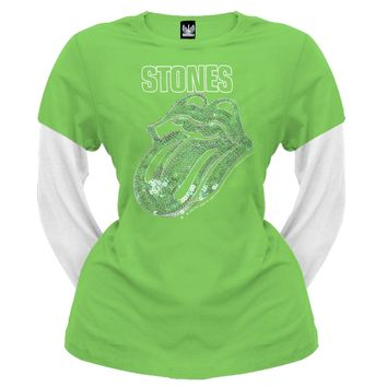 Rolling Stones - Sequined Tongue Juniors 2Fer T-Shirt