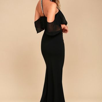 Pearls of Wisdom Black Pearl Off-the-Shoulder Maxi Dress