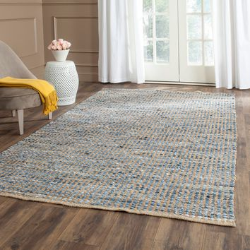 Safavieh Hand-Woven Cape Cod Natural/ Blue Jute Rug (6' Square) | Overstock.com Shopping - The Best Deals on Round/Oval/Square
