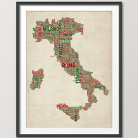 Text Map of Italy Map, Art Print 18x24 inch (960)