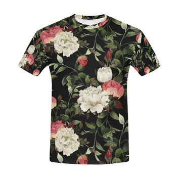 Floral Pattern With Roses Watercolor All Over Print T-Shirt for Men (USA Size) (Model T40)