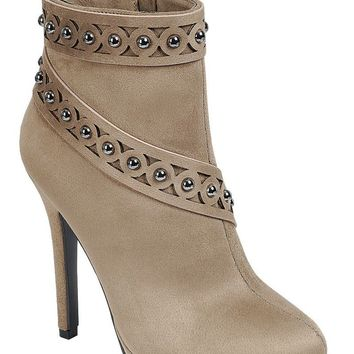 Ladies fashion high heel ankle boot, almond toe, stiletto heel, with zipper closure and decorative studs