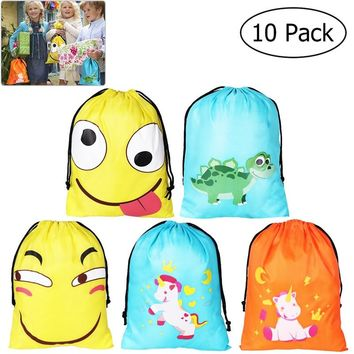 UNOMOR 10PCS 210d Polyester Drawstring Bag Candy Gift Bag Pouch Cute Assorted Popular Face Expression Unicorn Dinosaur Pattern