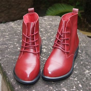 """Head layer cowhide pure handmade ankle half short boots ,""""Sen female"""" casual Martin women's Boots,Real  Leather shoes,3 colors"""