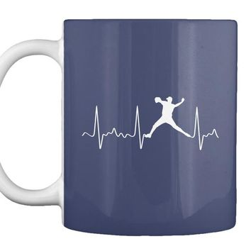 White Heartbeat Baseball Pitcher