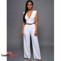 Wide Leg Pants Jumpsuit  Loose V-neck Sleeveless With Belt Body Rompers