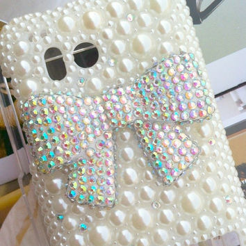 Verizon HTC 6400 Thunderbolt Fashional Bling Charms Phone Case Cover Skin: Pearl Crystal Lovely Shining Bowknot