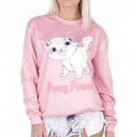 Pussy Power Kitty Printed Pink Lovely Hoodies