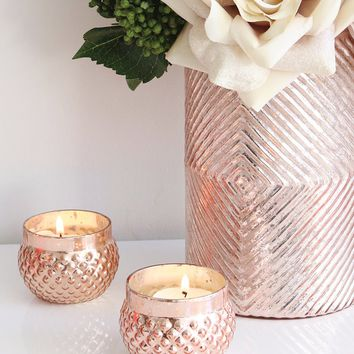 "Rose Gold Mercury Glass Candle Holder - 2"" Tall x 2.75"" Wide SPECIAL"