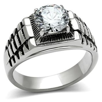 Adin Silver Stoned Mens Ring