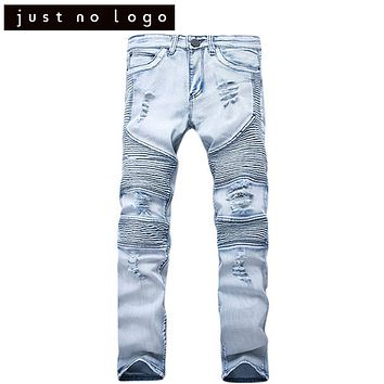 Fashion Mens Skinny Slim Fit Biker Jeans Ripped Distressed Tapered Style Denim Pants Straight Trouser for Men Party Club Hip Hop