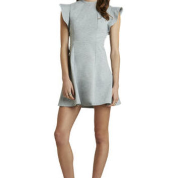 Ponte Flutter-Sleeve Dress in Grey/Tan - BCBGeneration
