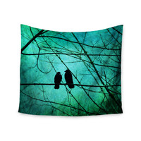 "Robin Dickinson ""Smitten"" Blue Teal Wall Tapestry"