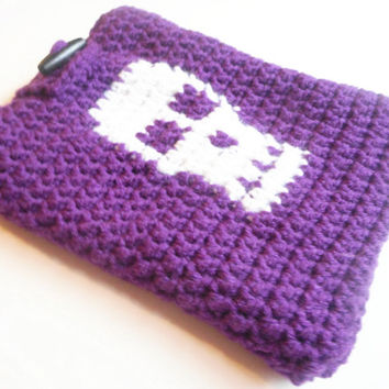 Mini Tablet or eReader Slip Cover Cozy with Skull in Eggplant, Fleece Lined, ready to ship.