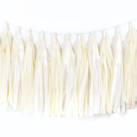 Pearl and Ivory Tassel Garland - Tissue Paper Tassel Garland - Wedding Garland // Bridal Shower // Nursery Decor