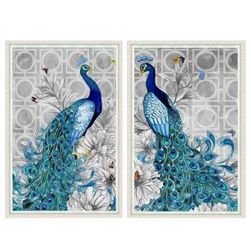 5D DIY Peacock Diamond Painting Embroidery Round Cross Stitch Mosaic Needlework