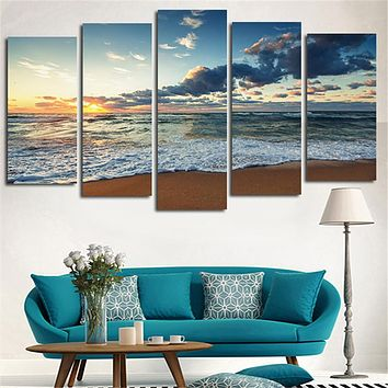 2016 Wall Art Printed Canvas Painting Sea Beach Landscape Home Decoration Modular Pictures Posters For Living Room No Frame 5pcs